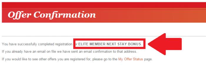 IHG Rewards Club Elite Member Next Stay Bonus 3000 Points Confirmation