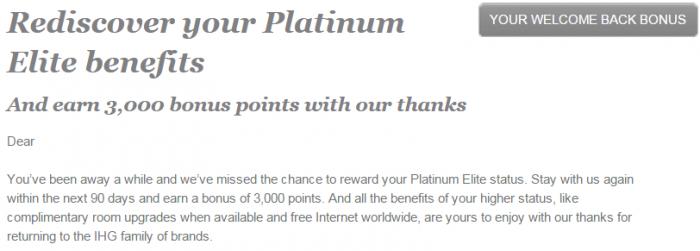 IHG Rewards Club Elite Member Next Stay Bonus 3000 Points Email