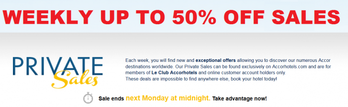 Le Club Accorhotels Weekly Private Sales 30 to 50 Percent Off