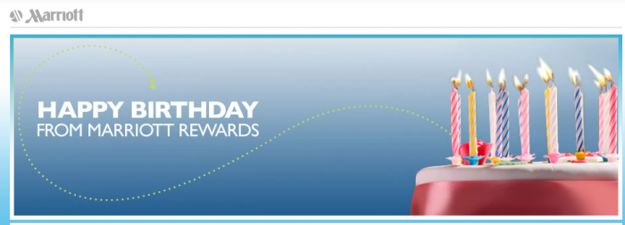 Marriott Rewards Birthday Gift 2015