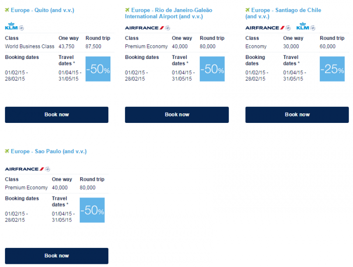 Air France-KLM Flying Blue Promo Awards February 2015 Central & South America 2