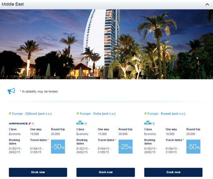 Air France-KLM Flying Blue Promo Awards February 2015 Middle East