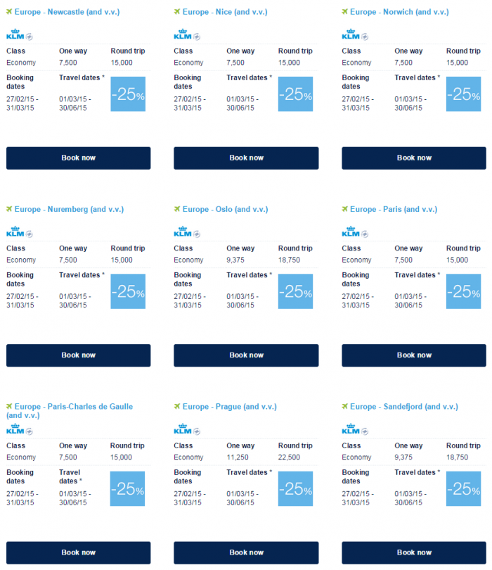 Air France-KLM Flying Blue Promo Awards March 2015 Europe Specials 8