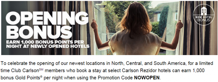 CLub Carlson 1,000 Bonus Points Per Night New Hotels Americas