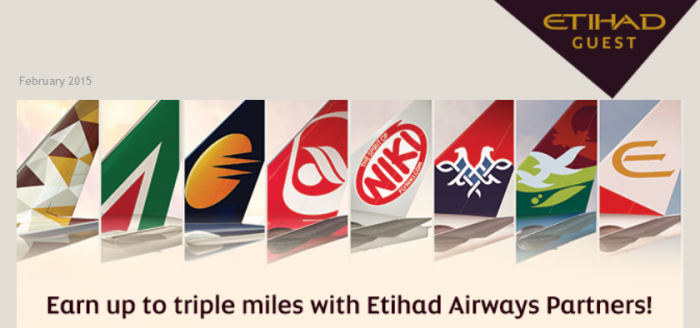 Etihad Guest Up To Triple Miles Partners February 25 - May 30 2015
