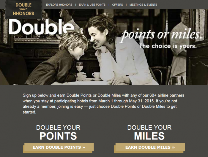 Hilton HHonors Double Your HHonors Double Points Double Miles March 1 - May 31 2015