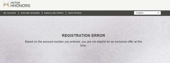 Hilton HHonors Exclusive Offer Error