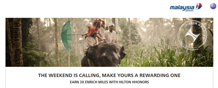 Hilton HHonors Malaysia Airlines Enrich Triple Miles Weekend Offer February 1 April 30 2015