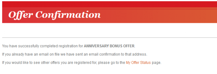 IHG Rewards Club Anniversary Bonus Offers 2015 Offer Confirmation