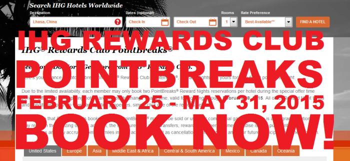 IHG Rewards Club PointBreaks February 25 - May 31 2015