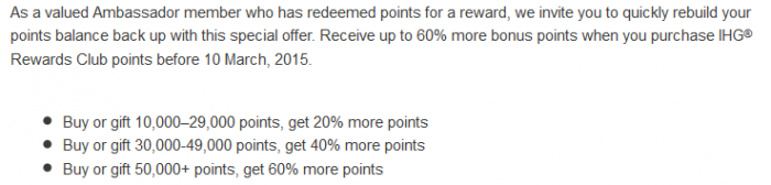 IHG Rewards Club Targeted Points Purchase Offer February March 2015 Table