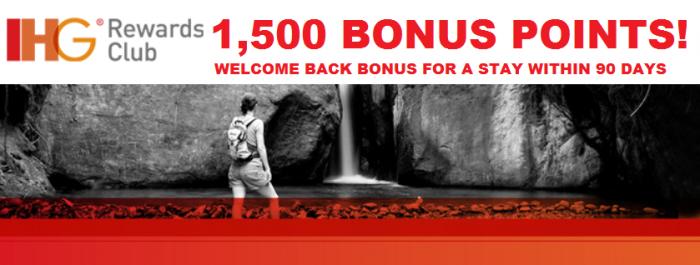 IHG Rewards Club Welcome Back Bonus 1,500 Points Main