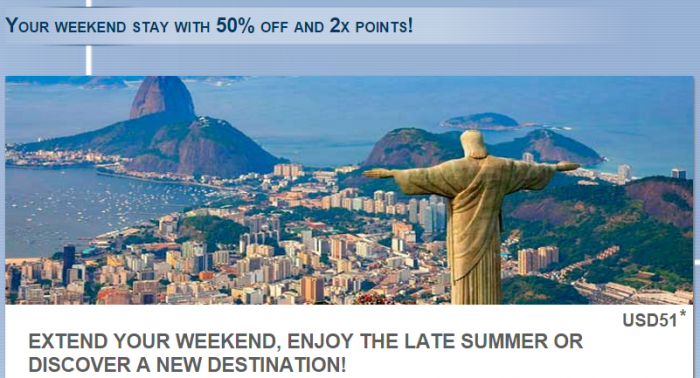Le Club Accorhotels South America 50 Percent Off + Double Points February 1 - March 31 2015