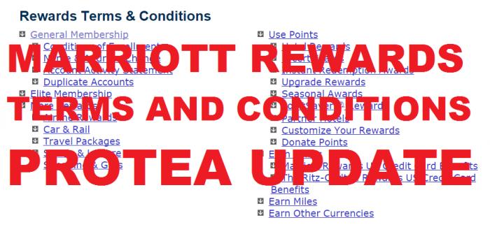 Marriott Rewards TCs Change Protea Update U