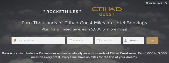 Rocketmiles Etihad Guest 5000 Bonus Miles First Booking