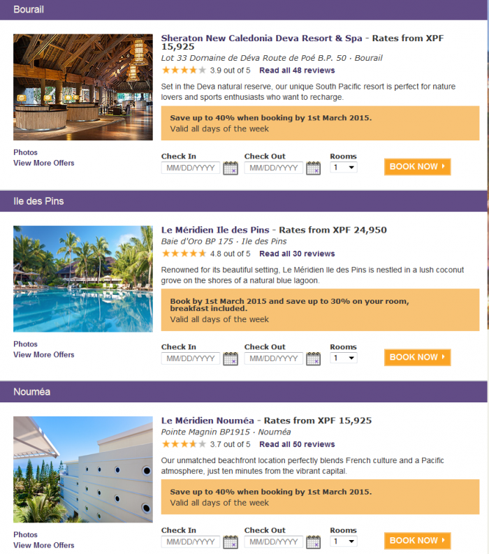 Starwood Australia & Pacific Up To 50 Percent Off Limited TIme Sale February 2015 New Caledonia