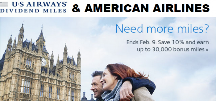 US Airways American Airlines Buy Miles Campaign February 2015