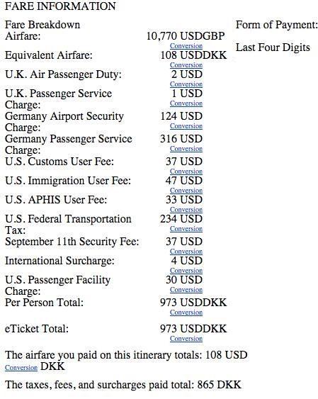 United Eticket Price Breakdown