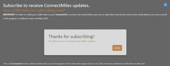 Copa Airlines ConnectMiles Confirmation