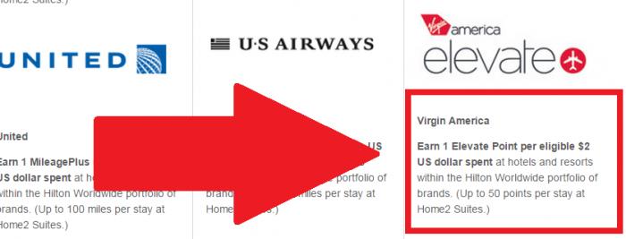 Hilton HHonors Virgin America Earning Change VX