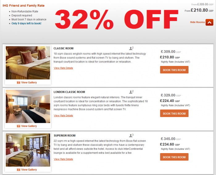 Intercontinental Hotels Group - IHG Rewards Club Friends & Family Rate InterContinental London Park Lane