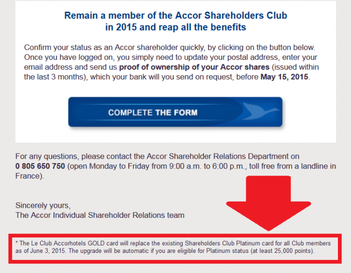 Le Club Accorhotels Shareholders Club Benefits Downgrade Email 3