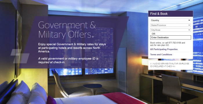Starwood Preferred Guest SPG Government Military Rates United States & Canada