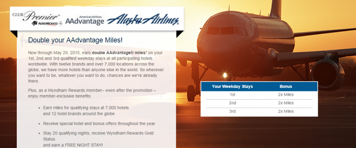 Wyndham Rewards Spring 2015 Airlines Miles Offers AeroMexico American Airlines Alaska Airlines