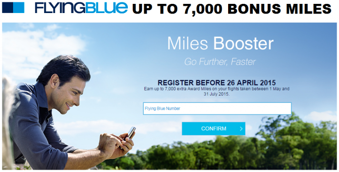 Air France-KLM Flying Blue Miles Booster 7000 Bonus Miles May 1 July 31 2015