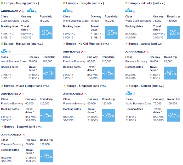 Air France-KLM Flying Blue Promo Awards May 2015 Asia Pacific 1