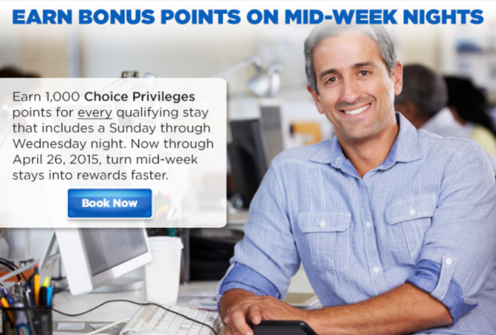 Choice Privileges 1,000 Bonus Points Per Midweek Stay April 1 - 26 2015