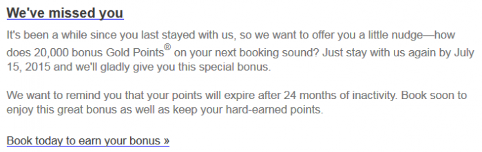 Club Carlson 20,000 Bonus Gold Points April 13 July 15 2015 Email Body