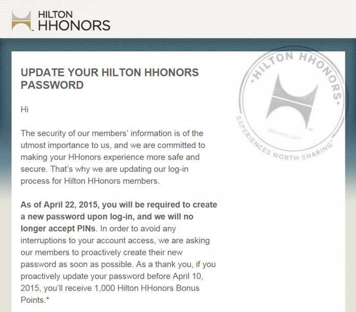 Hilton HHonors Change Password Email 1