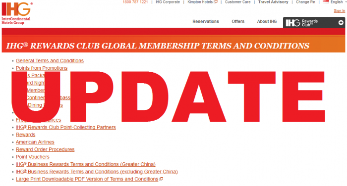 IHG Rewards Club Terms and Conditions Update April 17, 2015