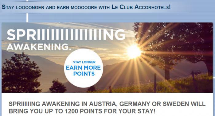 Le Club Accorhotels 1200 Bonus Germany Austria Sweden April 1 August 31 2015