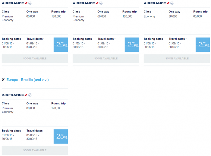 Air France-KLM Flying Blue June 2015 Promo Awards Central & South America 2