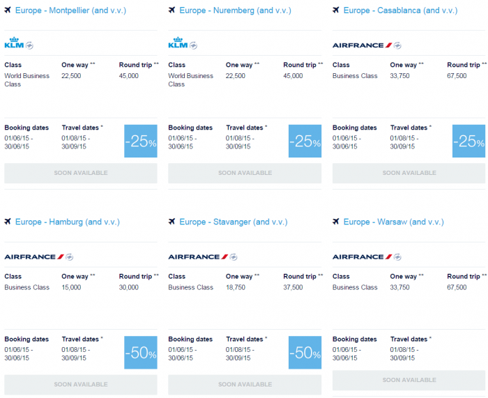 Air France-KLM Flying Blue June 2015 Promo Awards Europe Summer Specials Business 3