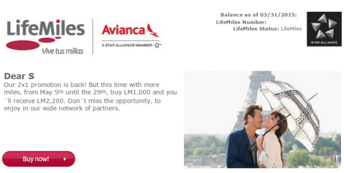 Avianca LifeMiles Buy Miles Campaign May 2015