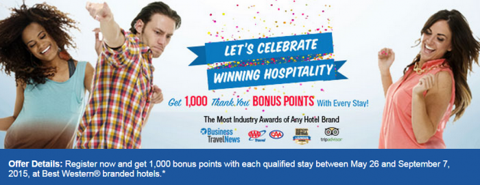 Best Western Rewards 1,000 Bonus Points Summer 2015 Promotion May 26 September 7