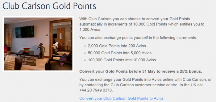 British Airways Spring 2015 Hotel Points Conversion Bonus Club Carlson More