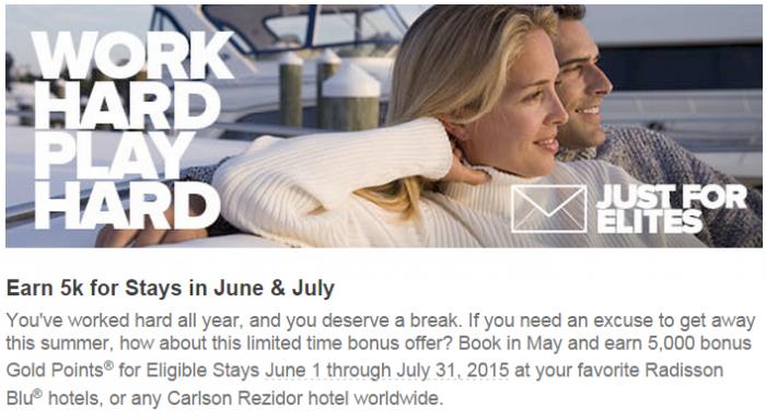 Club Carlson 5,000 Bonus Points Per Stay Elite Member Offer June & July 2015 Book In May