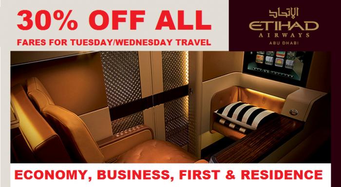 Etihad Airways 30 Percent Discount