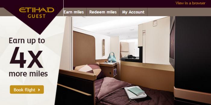 Etihad Airways Quadruple Miles Offer