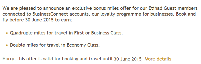 Etihad Airways Quadruple Miles Offer BusinessConnect Text