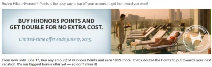 Hilton HHonors Buy Points 100 Percent Bonus June 17 2015