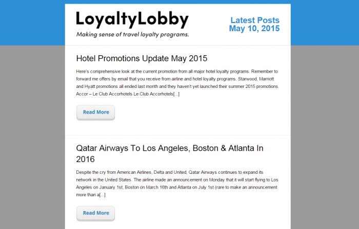 LoyaltyLobby Blog Email Newsletter Update