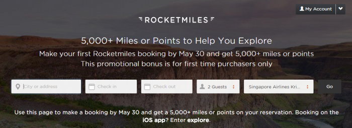 Rocketmiles 5,000 miles First Booking May 30 2015