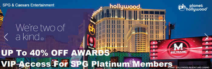 SPG Caesars Entertainment Up To 40 Percent Off Awards + VIP Access For Platinum Members
