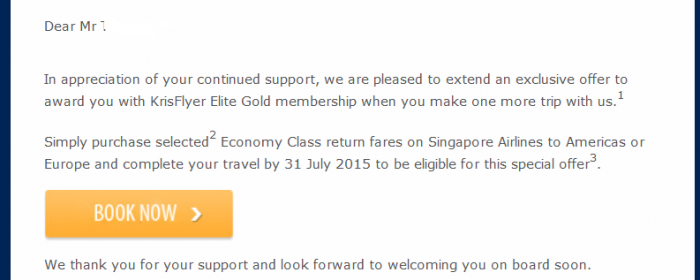Singapore Airlines KrisFlyer Gold Status Fast Track Text U
