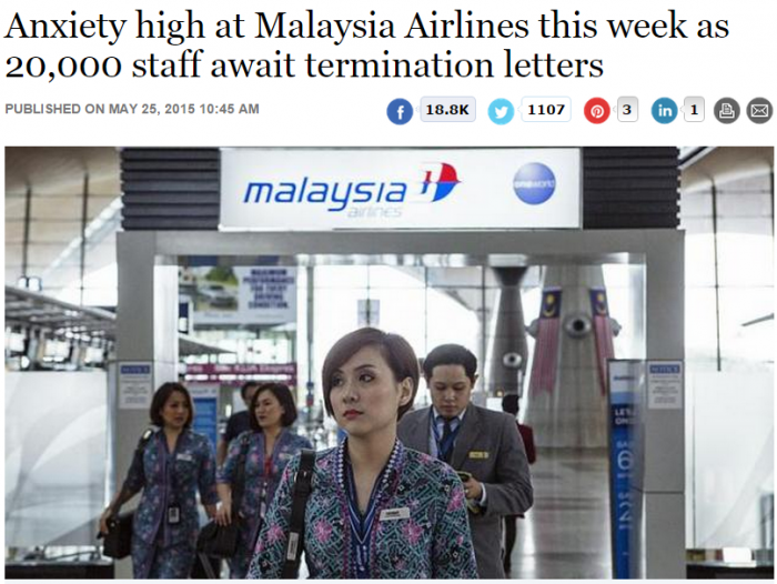 The Straits Times Anxiety high at Malaysia Airlines this week as 20,000 staff await termination letters